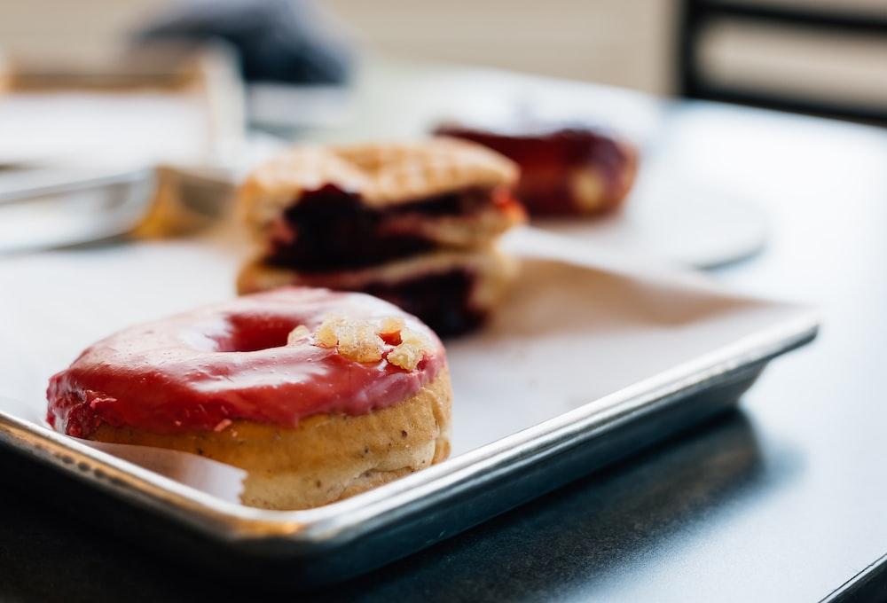 three varieties of baked doughnuts