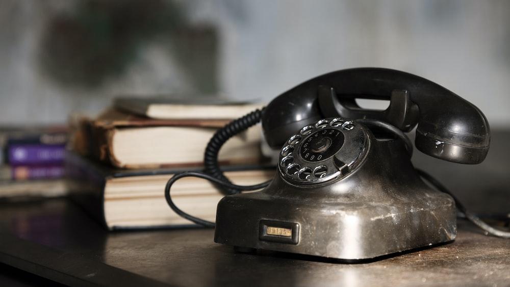 gray rotary phone