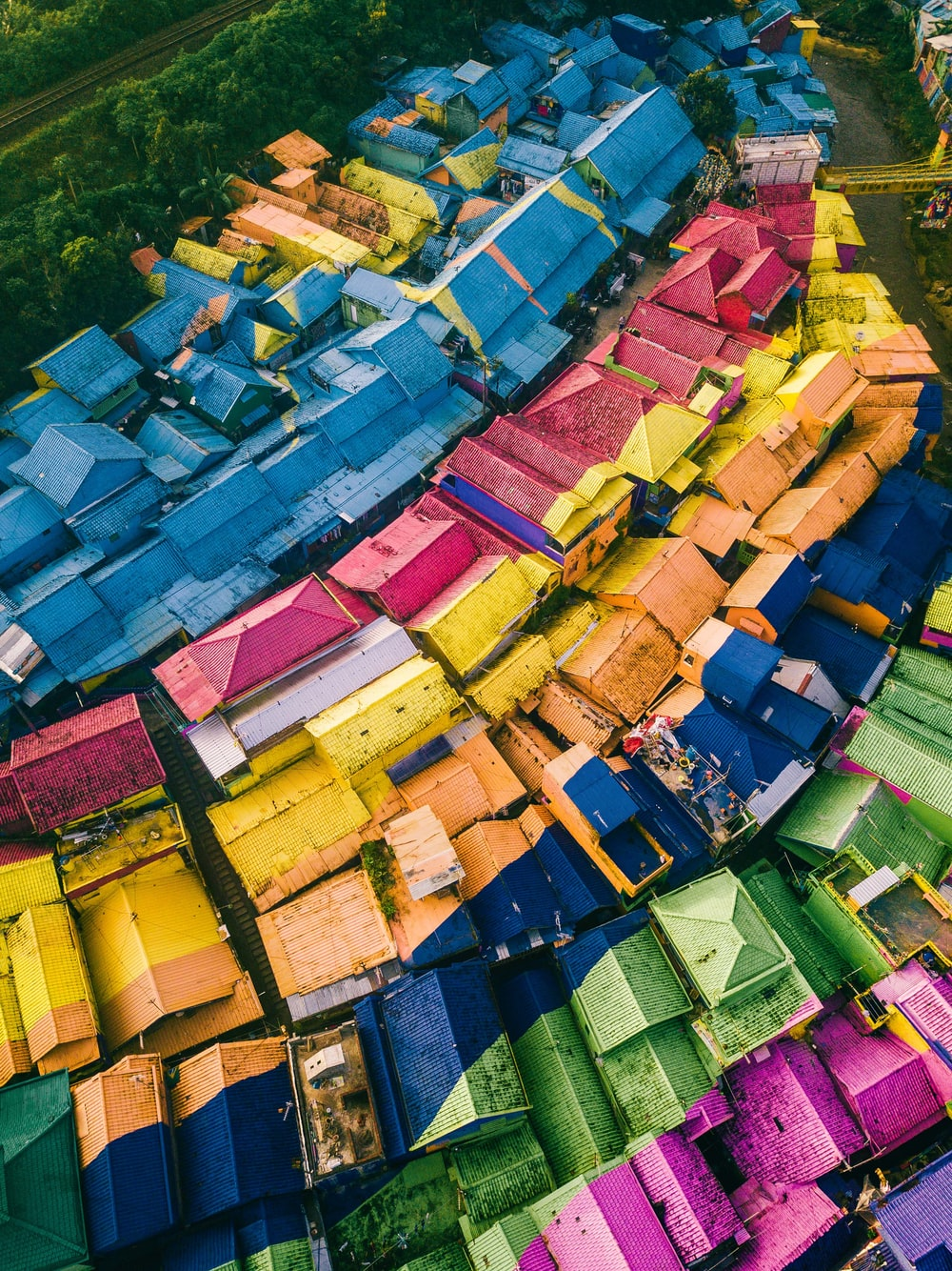 multicolored floral houses