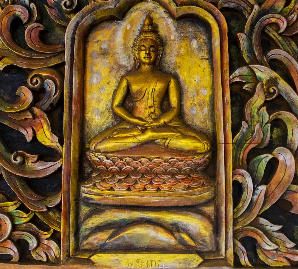 brass Buddha embossed wall decor