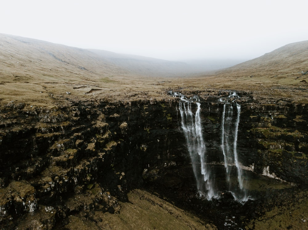 two waterfalls and rock formations