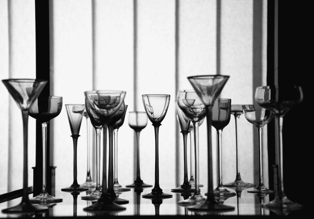clear wine glasses and martini glasses