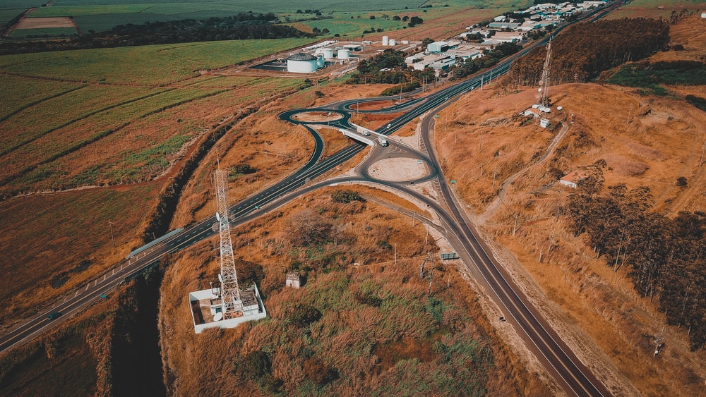 aerial photography of road and land field