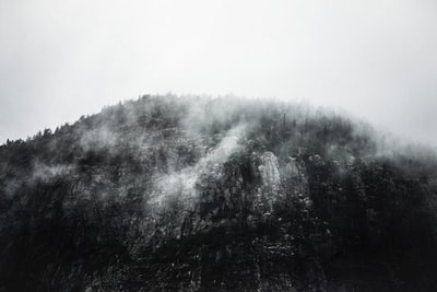 greyscale photography of mountain epic zoom background