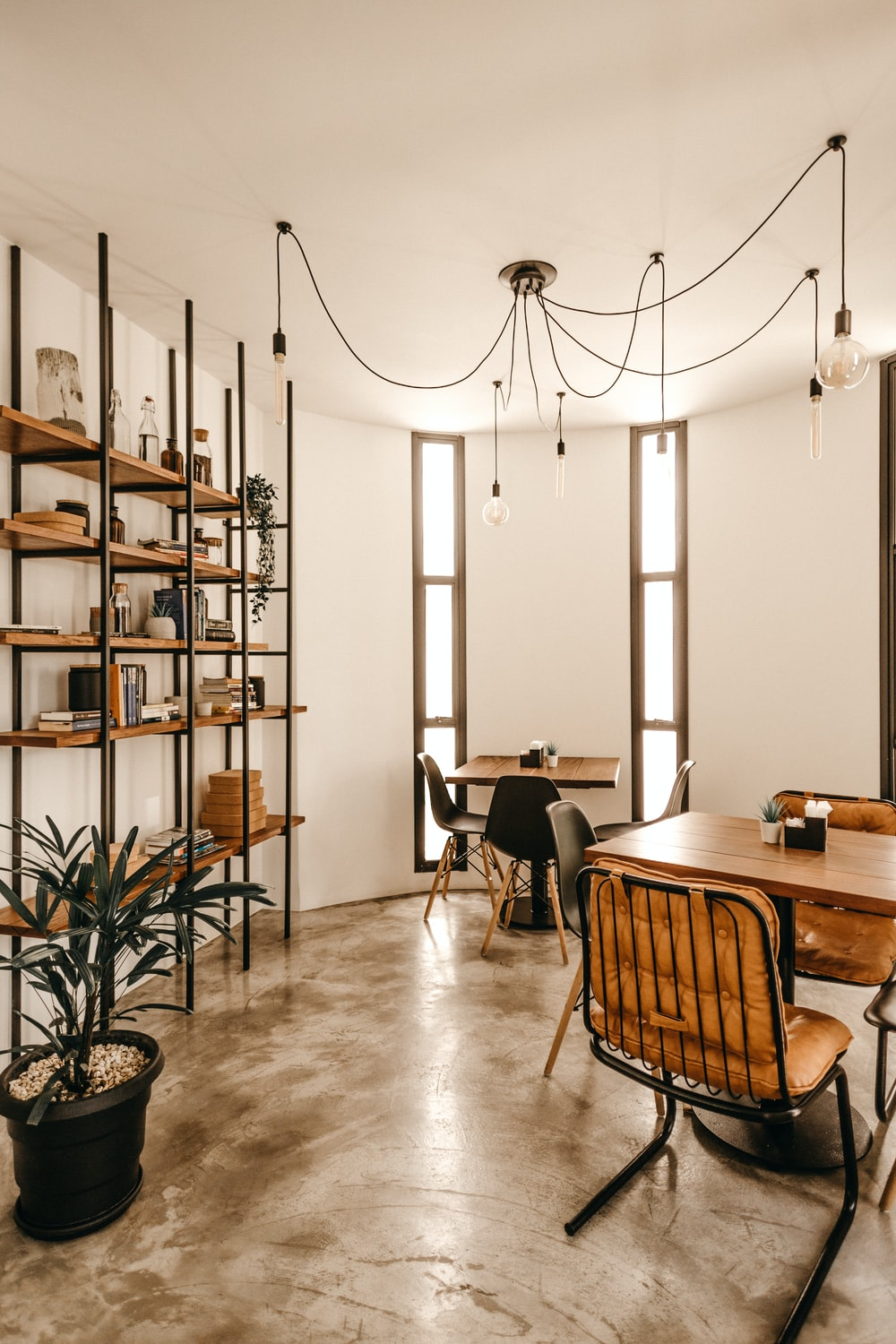 empty brown wooden dining tables