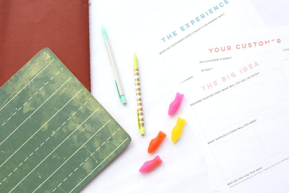 pens on white printer paper