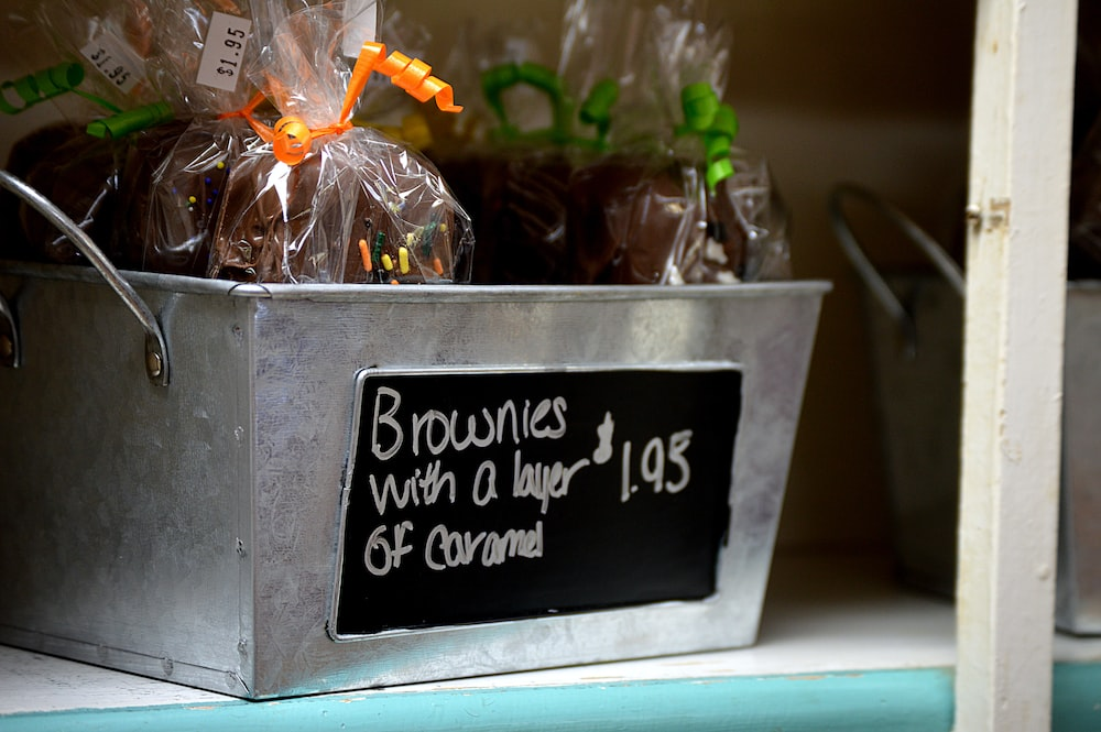 brownies with a layer on gray steel basket