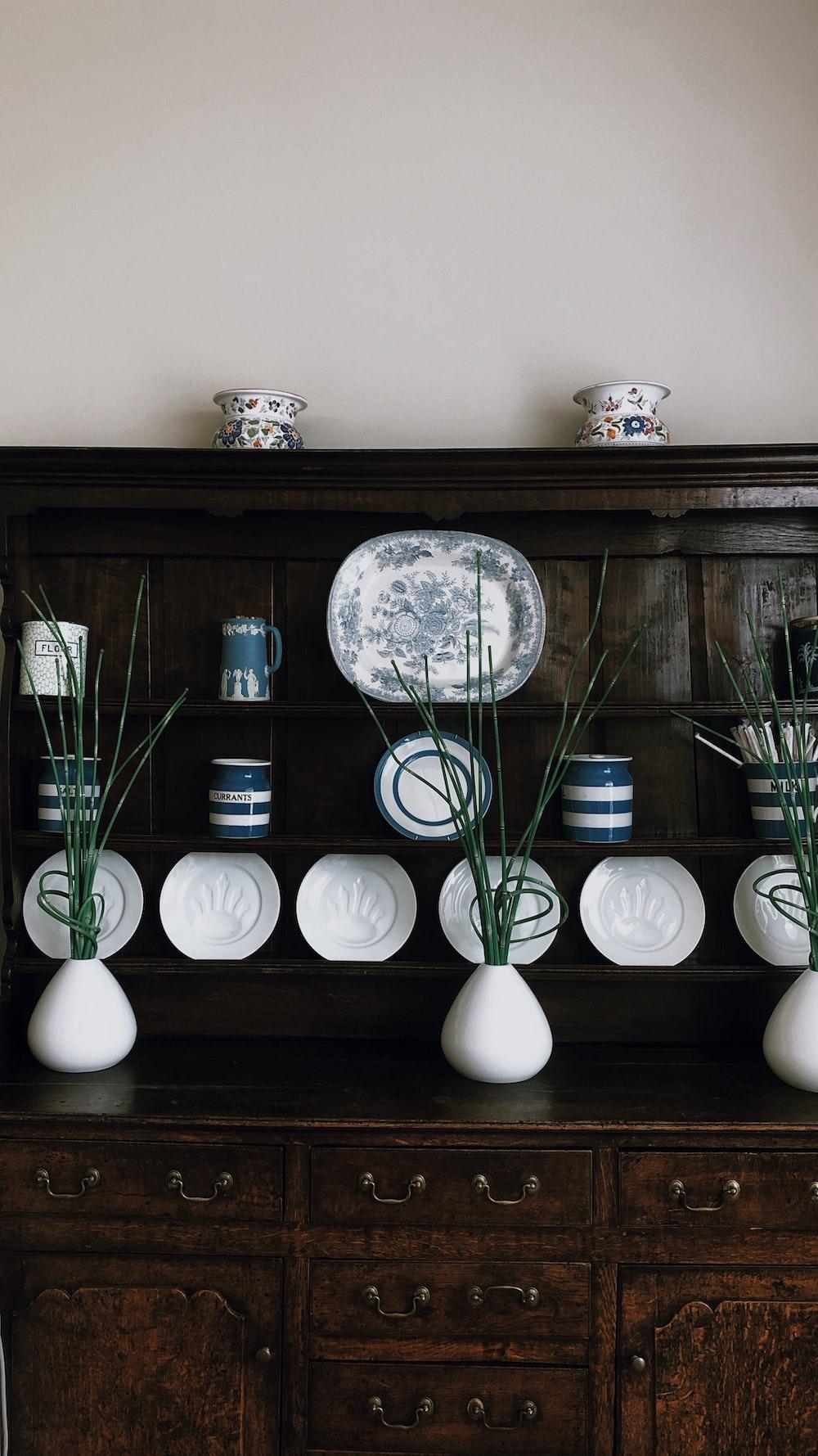 three white vases