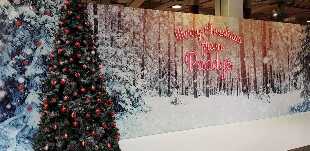 Christmas tree decor and Merry Christmas greeting wall decor