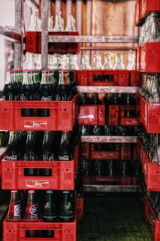 bottles in crate