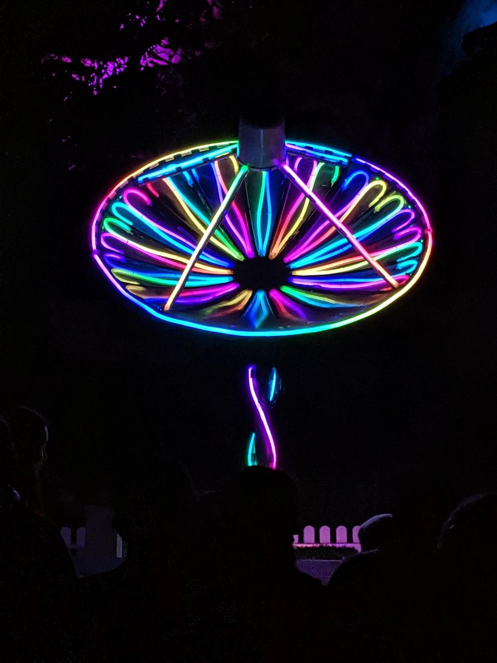 multicolored neon-lighted satellite
