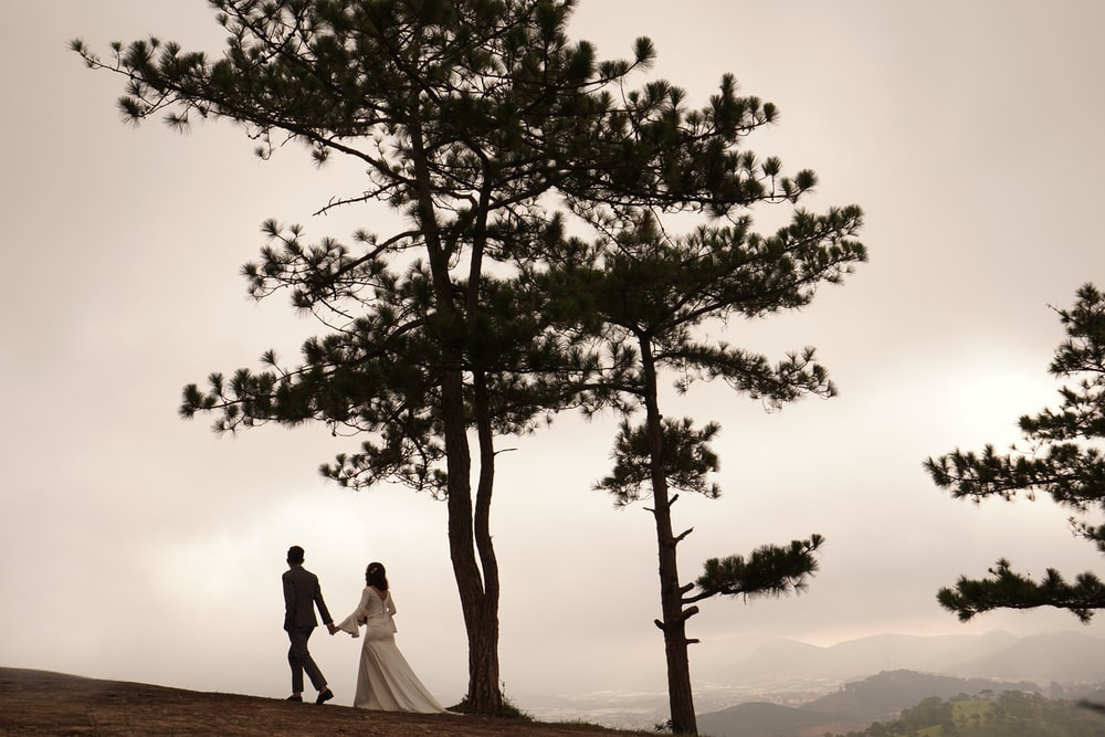 man and woman walking near tall tree