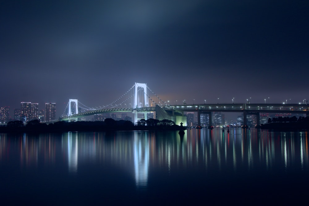 view of bridge at night