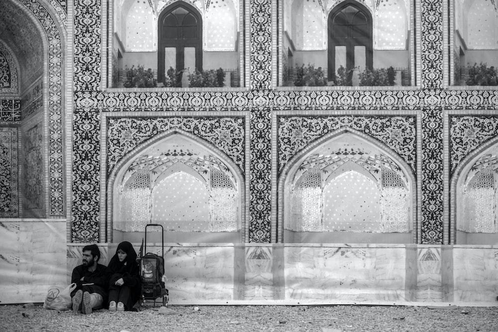 grayscale photo of mosque interior