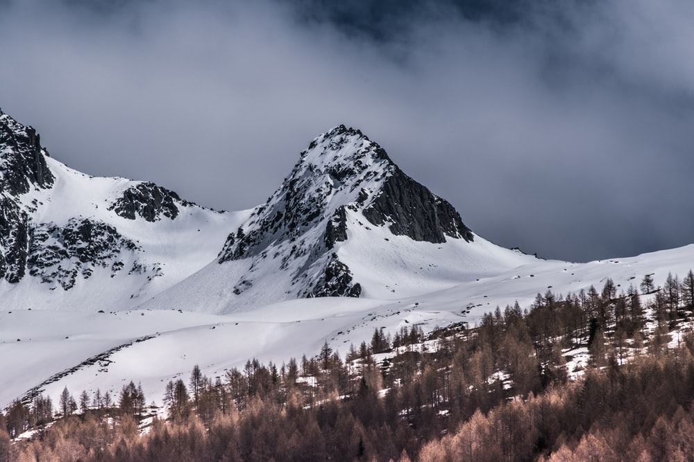 landscape photo of a snowy mountain