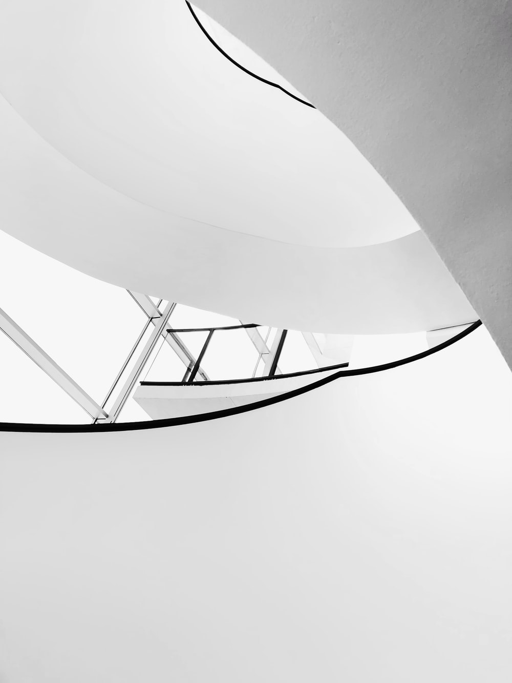 white and black stairs