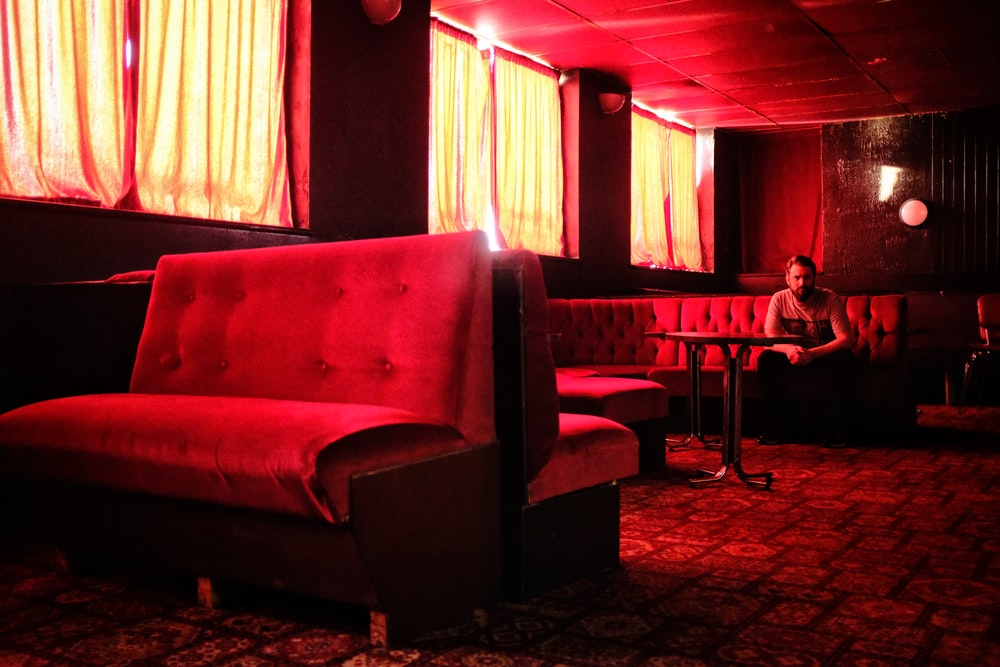 interior of a red themed restaurant