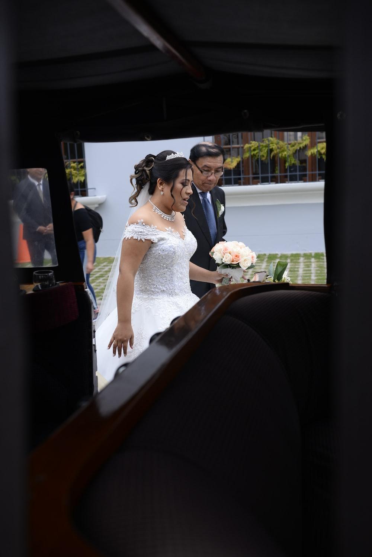 newly wedded couple walking