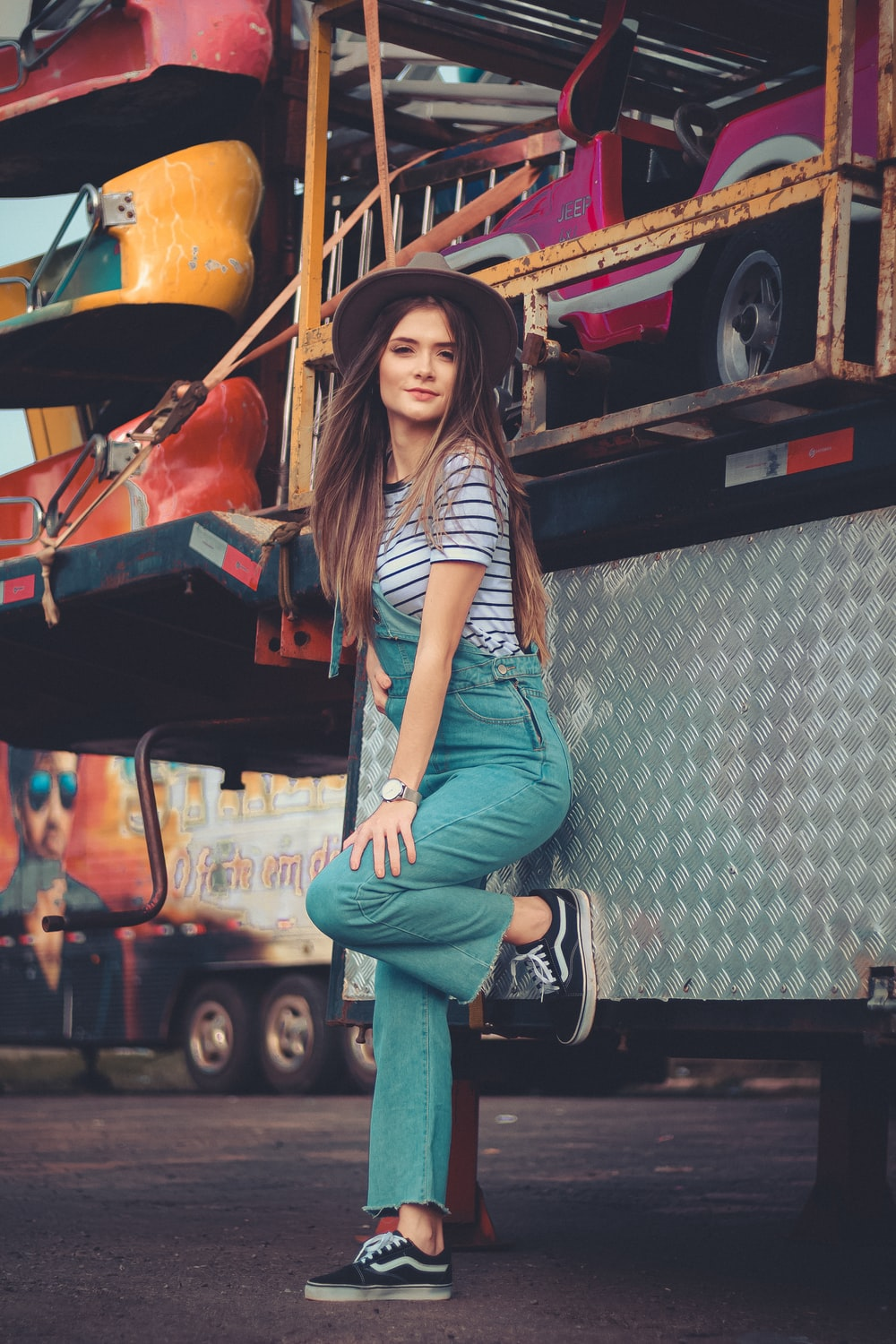 woman leaning on truck