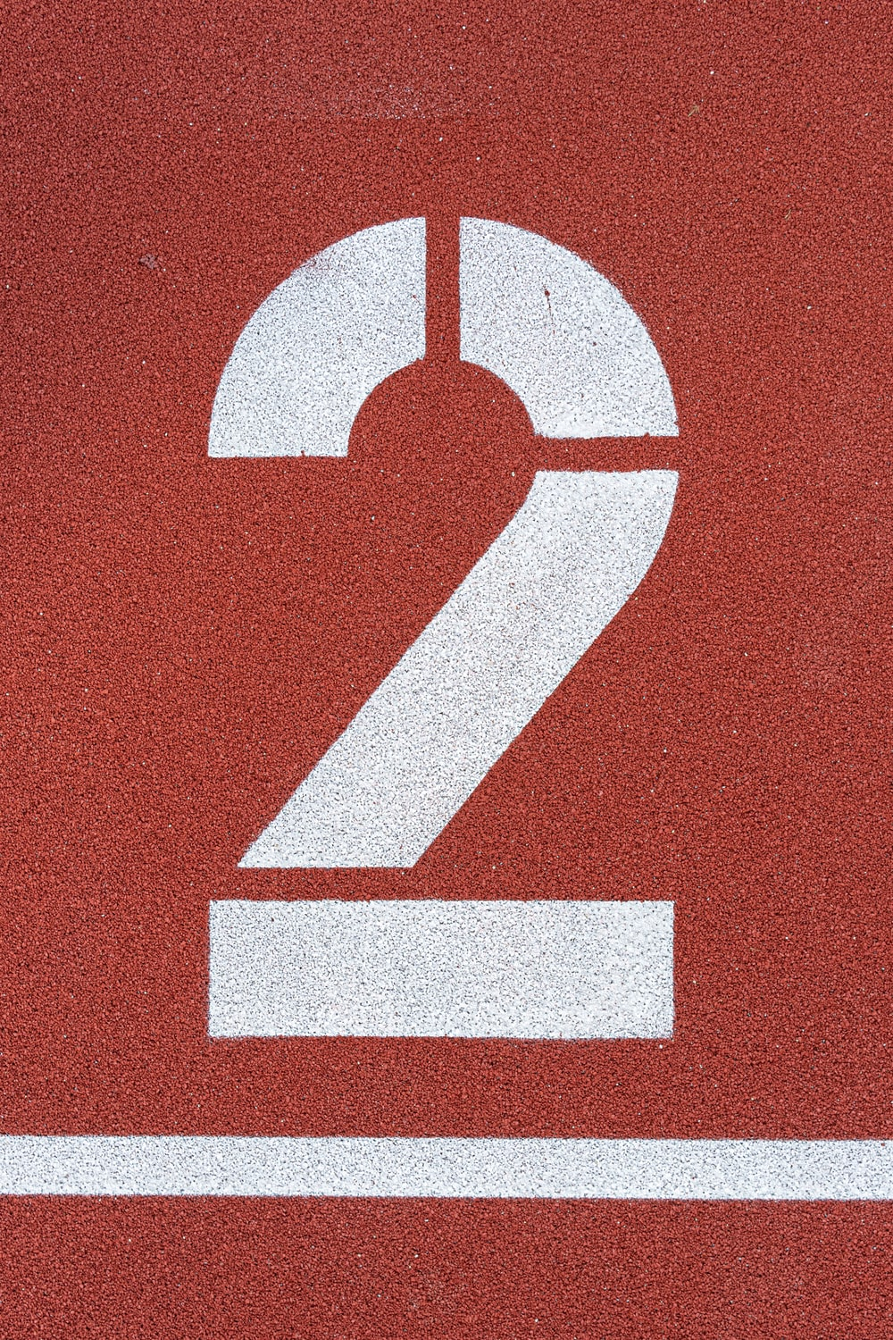 brown surface with number 2 paint