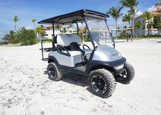 gray and white golf cart