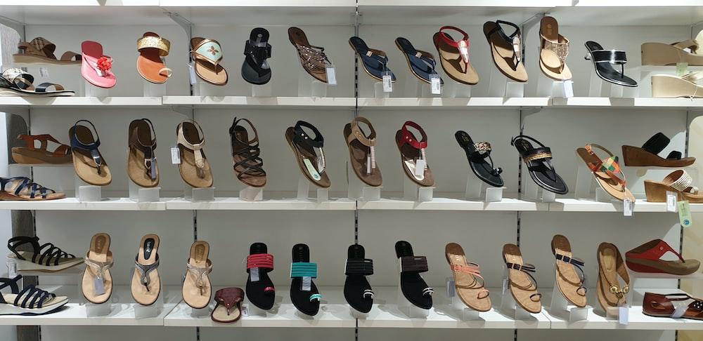 assorted-color footwear display