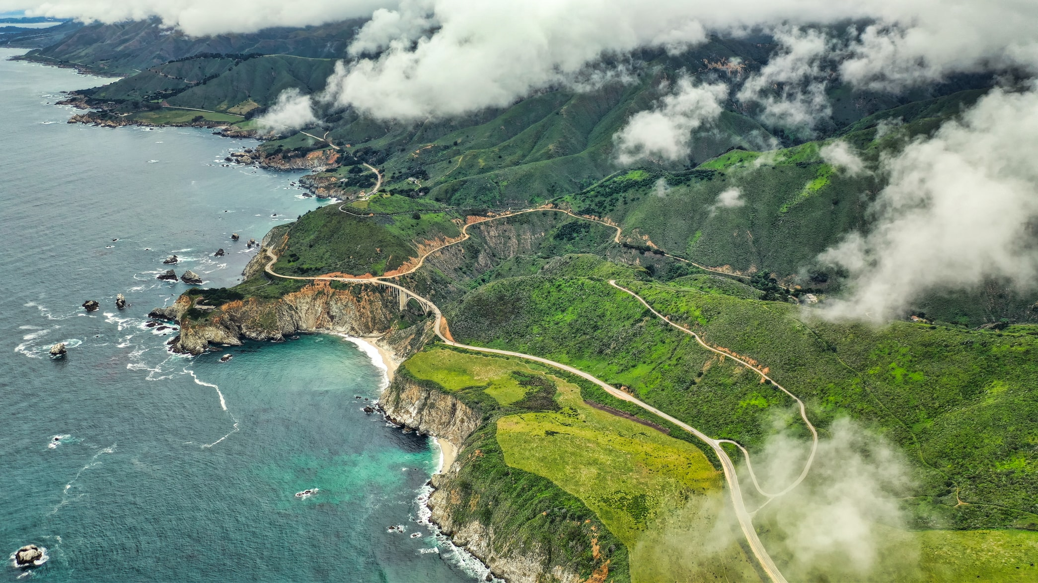 aerial view of highway by carmel-by-the-sea