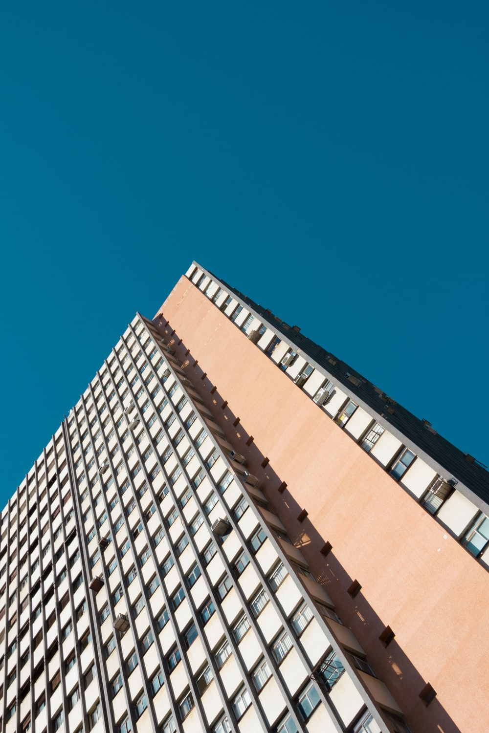 architectural photography of white and pink building