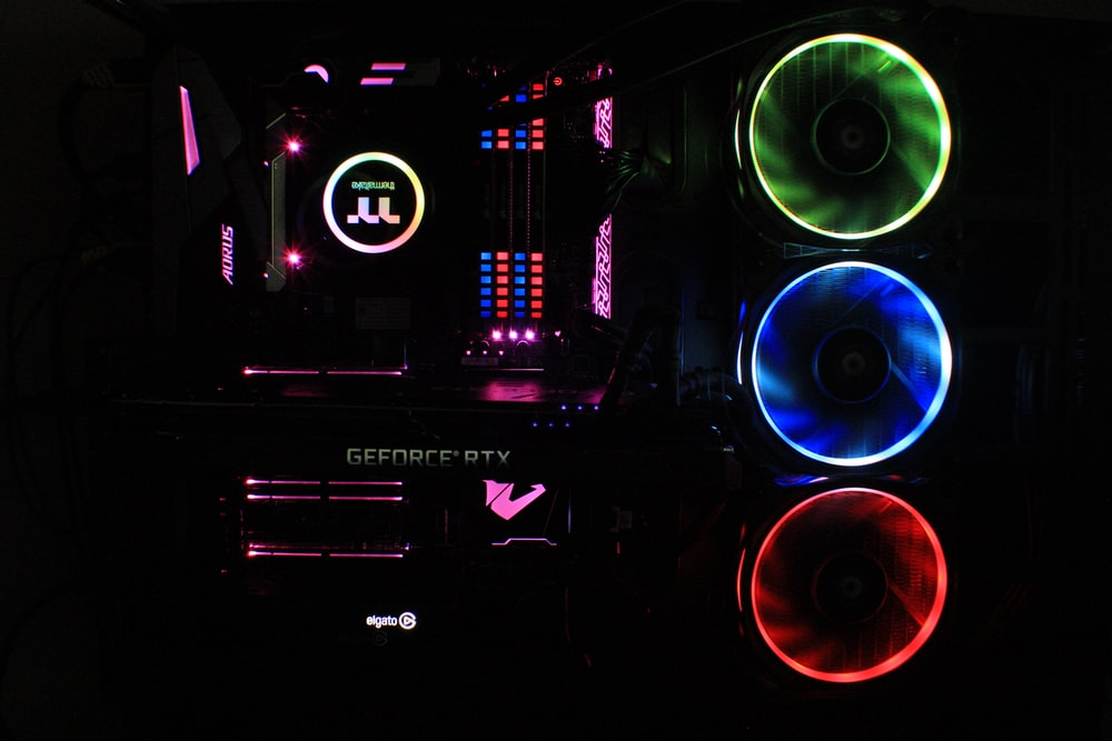 black and multicolored computer tower