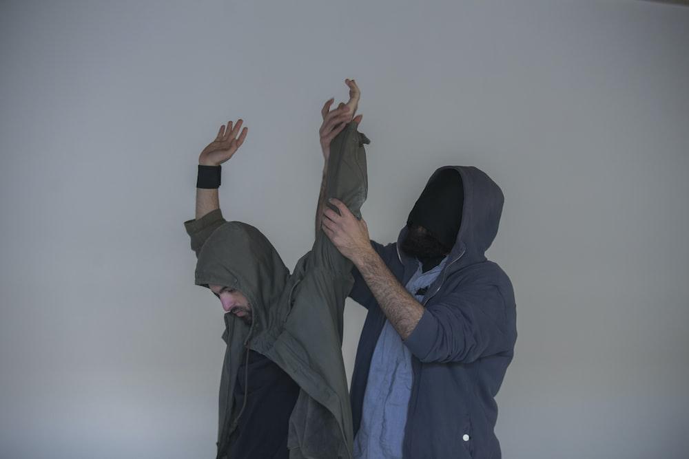 men's gray hooded jacket