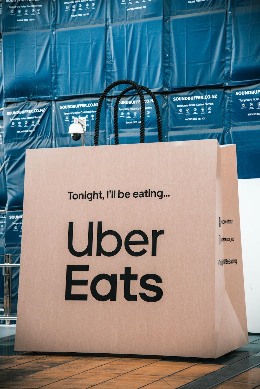 white Uber Eats shopping bag