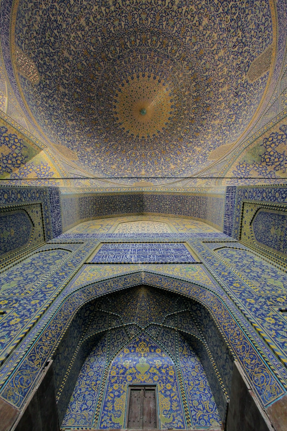 low angle view of Gothic ceiling of building