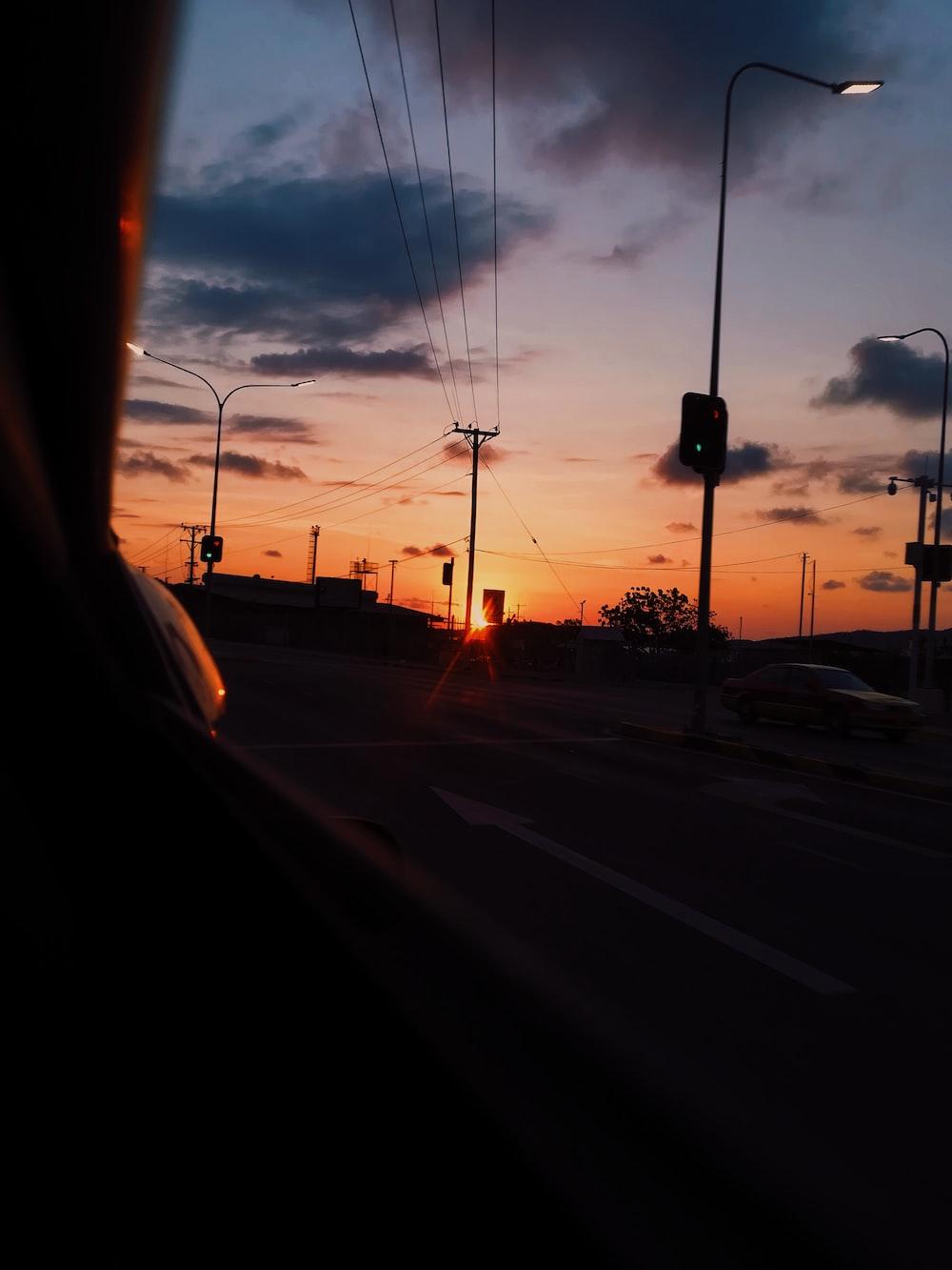 silhouette photo of street lamp