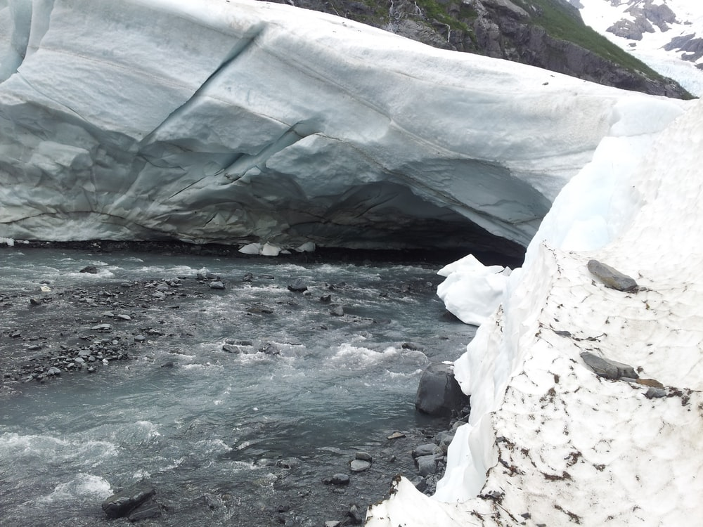 river under white iceberg