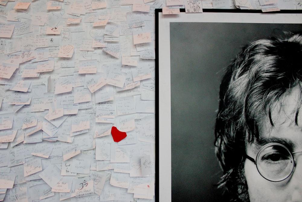 John Lennon grayscale photo