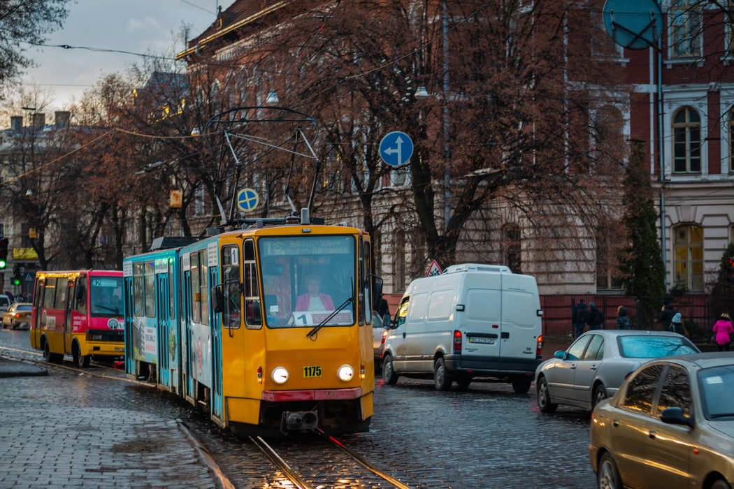 The cobbled street of Lviv with trams