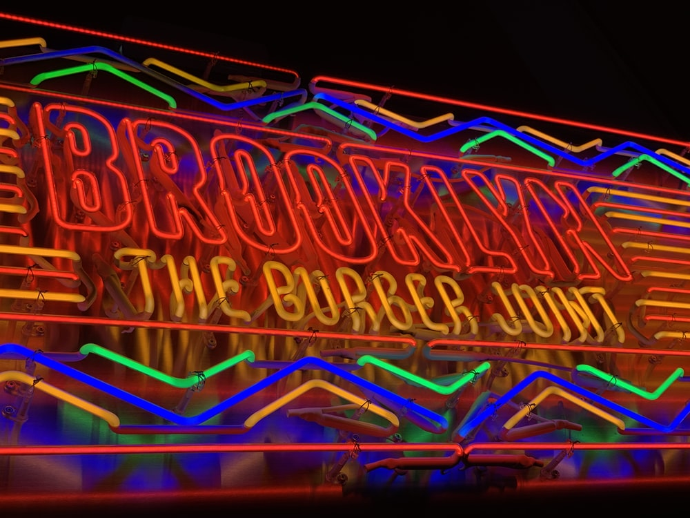 Brooklyn The Burger Joint neon signage turned on