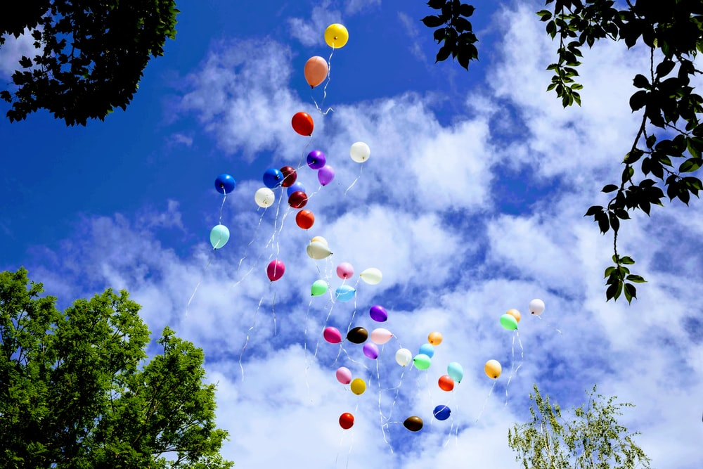 assorted-color balloons flying on the sky