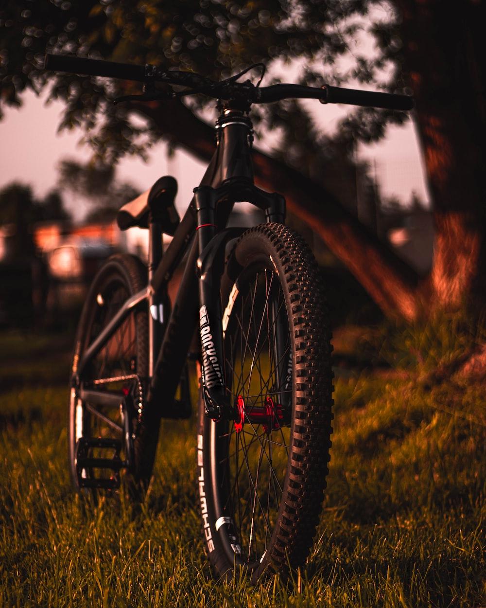 black hardtail bicycle on grassland