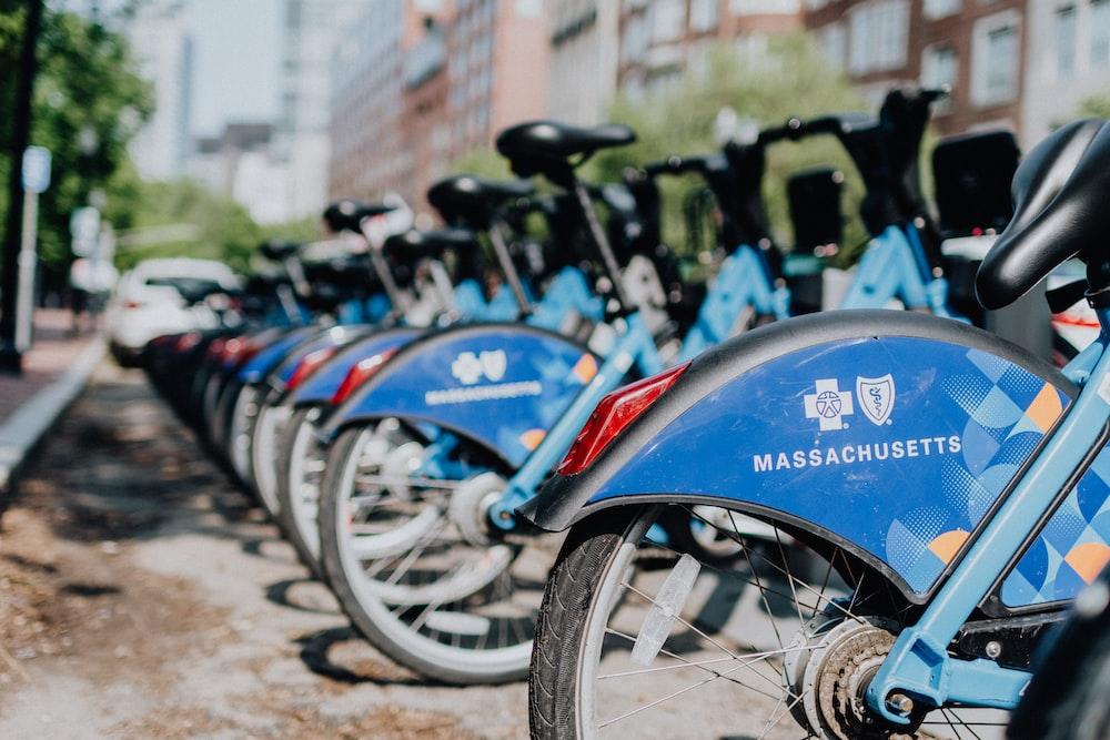 Massachusetts bikes parked on roadside