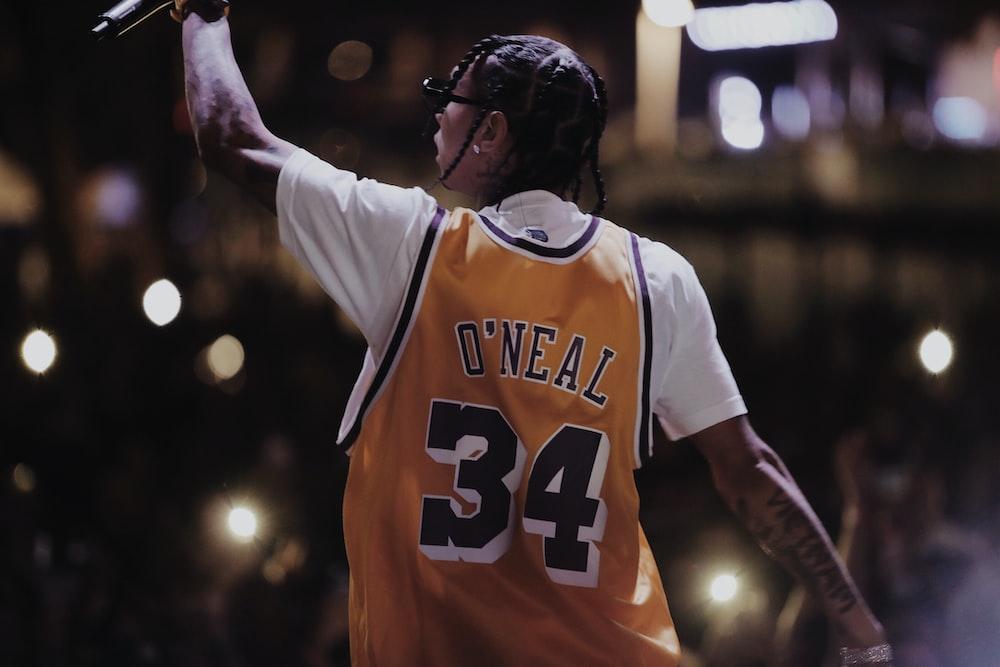 man wearing yellow O'neal 34 jersey