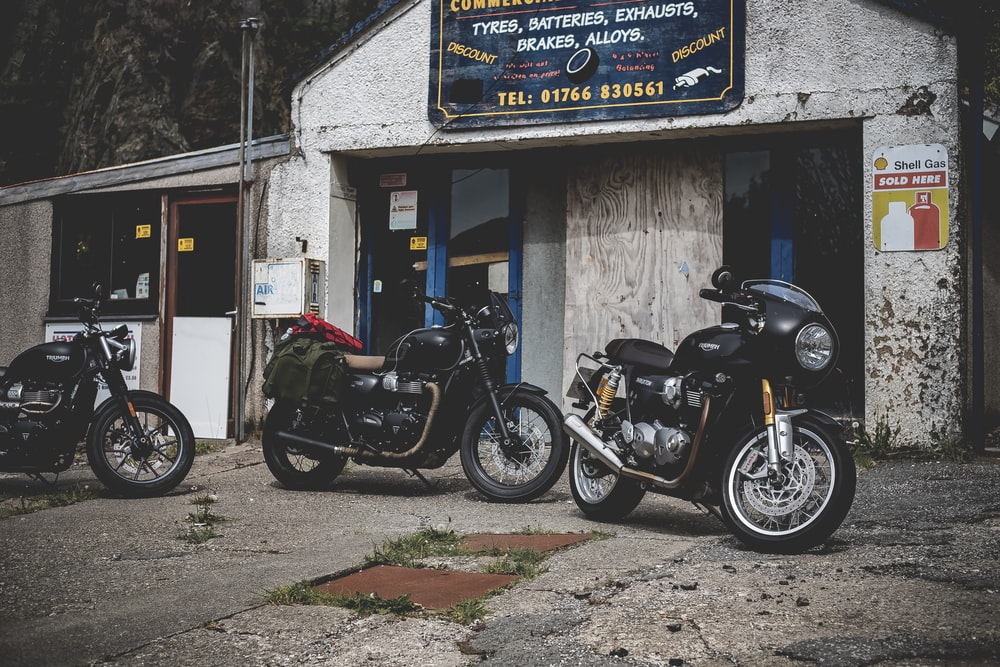 three touring motorcycles