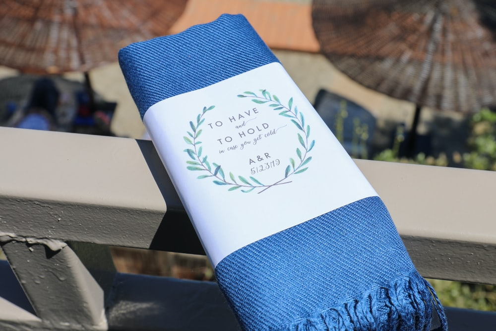 blue scarf with fringe