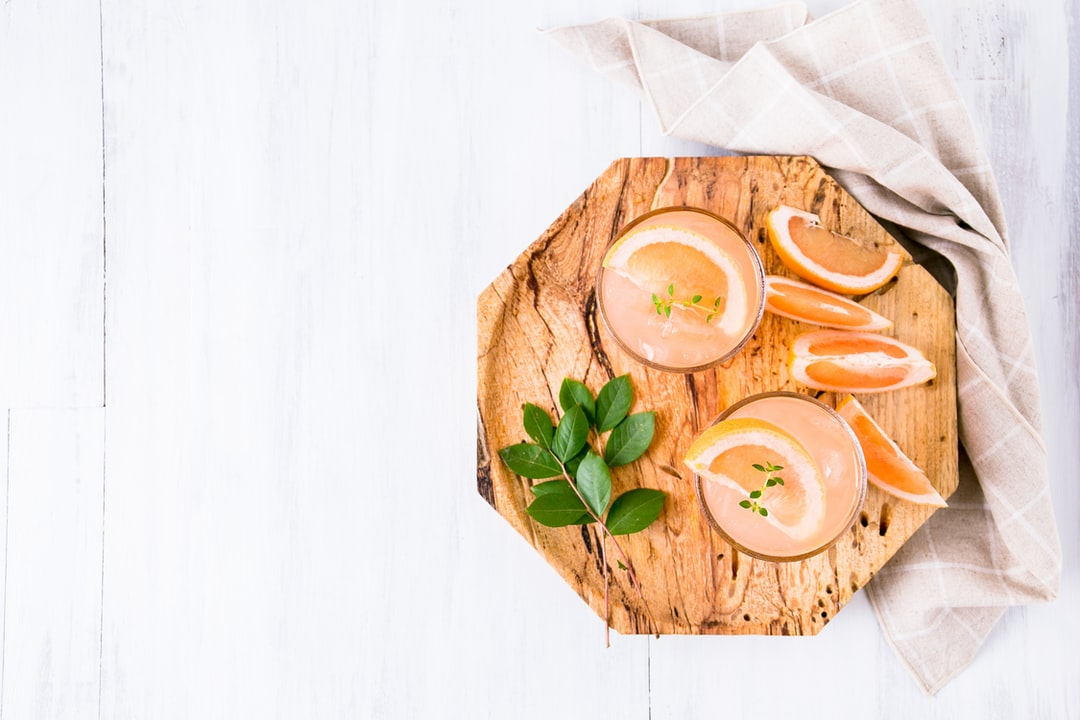Serving cocktails on a pretty tray just makes them that much better. Anything with grapefruit is my go-to cocktail.