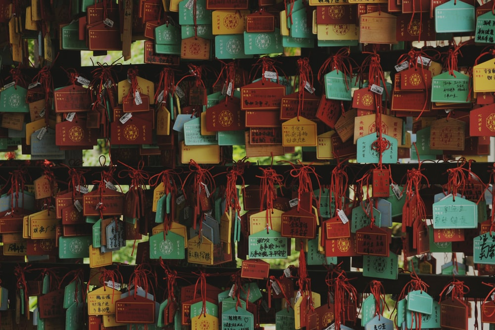 assorted-color hanged key chains