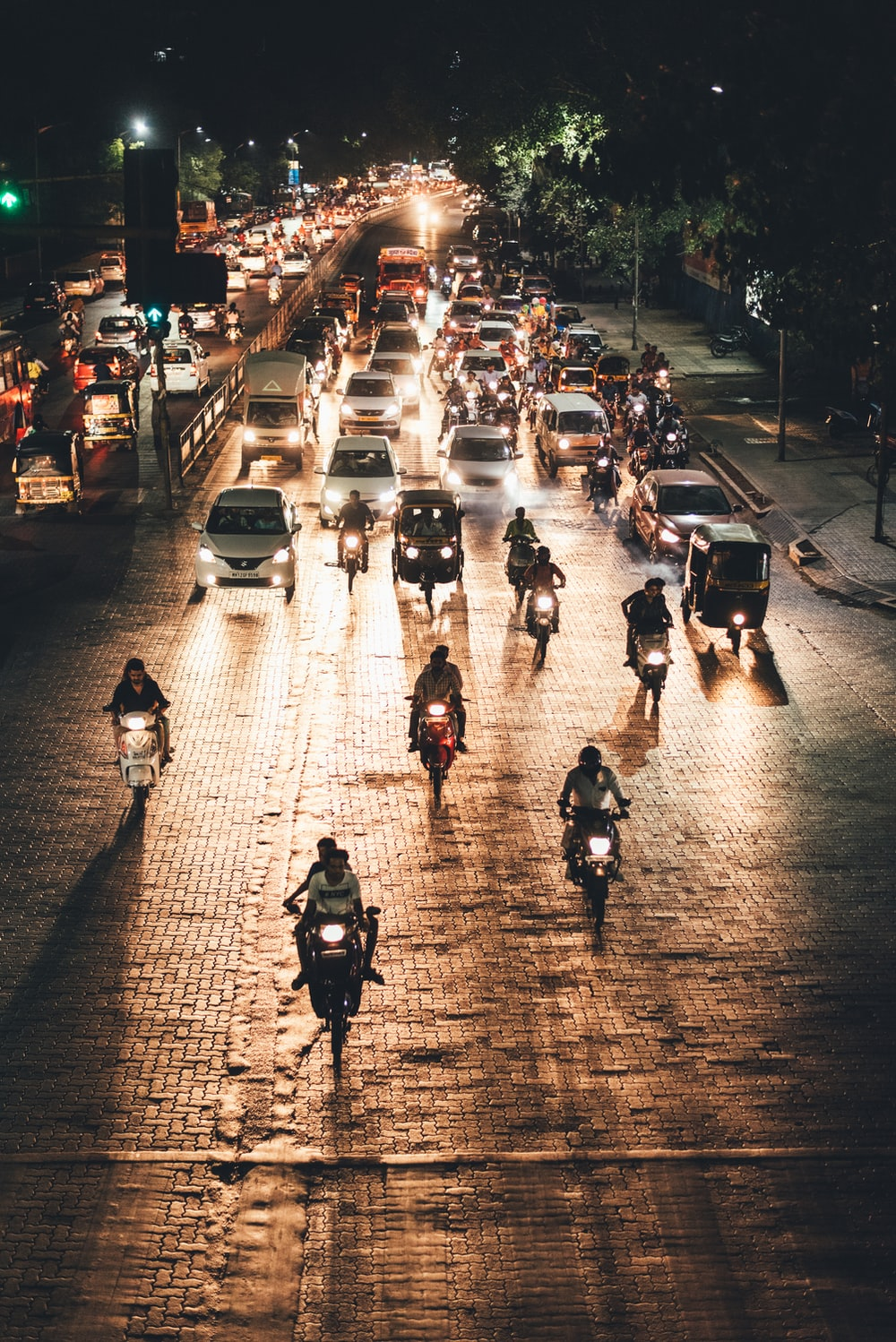 vehicles on road during night time