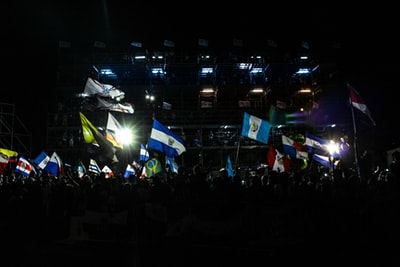 people waving United Nation flags surrounded with people