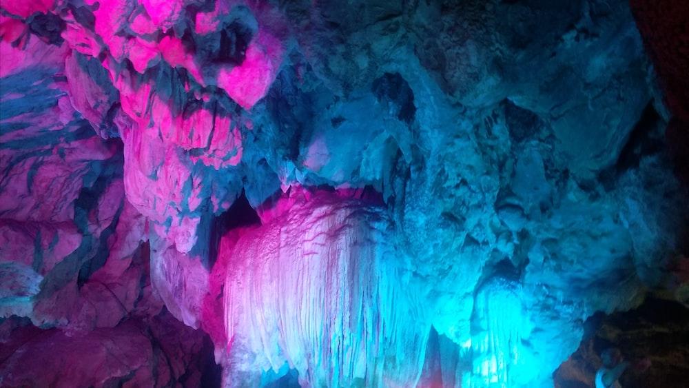 blue and pink LED lights