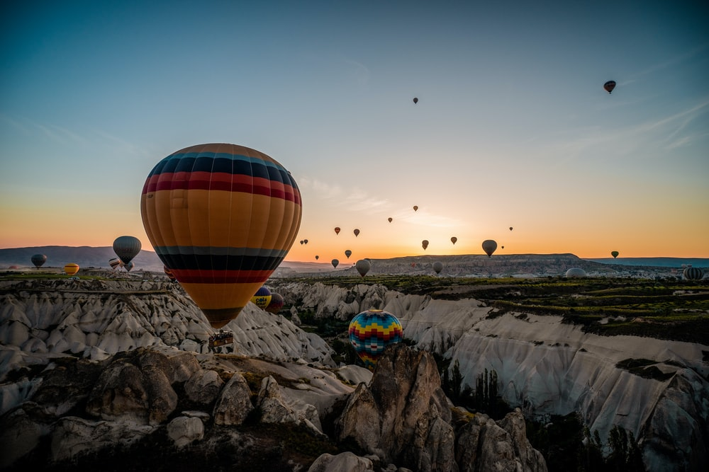 aerial photography of hot air ballons