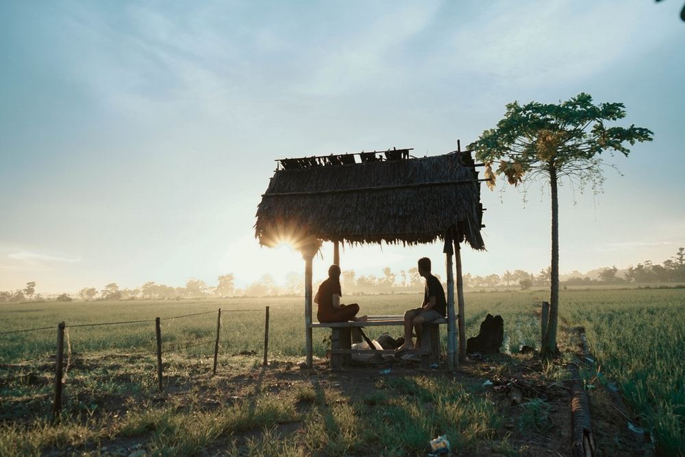 man and woman sitting on canopy